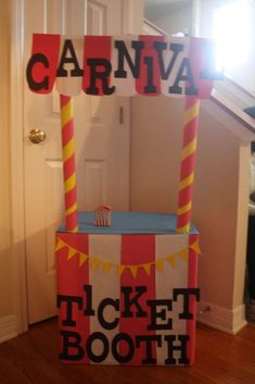 ticket booth idea Best Picture For diy carnival games For Your Taste You are looking for something, and it is going to tell you exactly what you are looking for, and you didn't find that picture. Carnival Party Games, Carnival Classroom, Carnival Booths, Carnival Games For Kids, Carnival Decorations, Carnival Birthday Parties, Carnival Themes, Circus Birthday, Circus Theme