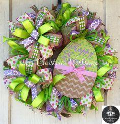 Easter wreath Deco mesh wreath Easter by MrsChristmasWorkshop