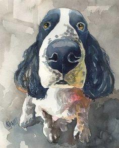 Springer Spaniel Art Print of Original Watercolor by dogartstudio