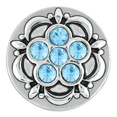 Ginger Snaps Petite Six Stone Flower Aqua Snap GP05-32. Petite ginger snaps will not fit regular ginger snap items. Only petite snaps will fit into petite jewelry. Create your own interchangeable jewelry with Petite Ginger Snaps Accessories. About 1/2 inch in diameter, rhodium plated silver. Great gift idea.