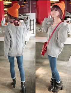 Fabulous Twist Pattern Dolman Sleeve Pulover Sweater Gray on BuyTrends.com, only price $24.17