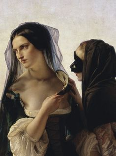 There were conversations and whispers as she passed by. detail from Francesco Hayez, Il consiglio alla vendetta (Vengeance) (1851).