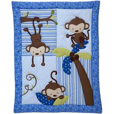 Little Bedding by NoJo 3 Little Monkeys 10pc Nursery in a Bag Crib Bedding Set, Boy