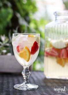 White Wine Sangria - a bright and refreshing summer cocktail #sangria #whitesangria #whitewine #cocktail #summer #recipe #fruitwine Refreshing Summer Cocktails, Summer Drinks, Cocktail Drinks, Fun Drinks, Party Drinks, Alcoholic Beverages, Summer Sangria, Sangria Recipes, Drinks Alcohol Recipes