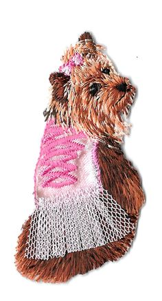 Dog - Yorkie -Terrier In Pink - Pet - Embroidered Iron On Applique Patch #Unbranded