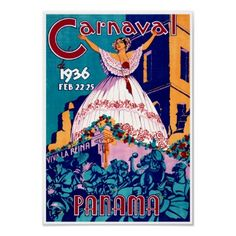 Carnaval Panama 1936 ~ Vintage Travel Advertising Print