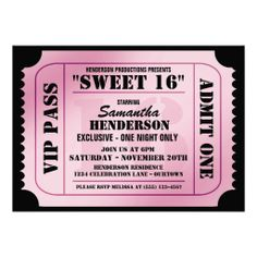 17 Best Sweet 16 Images On Pinterest Birthday Party Invitations