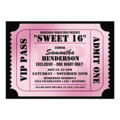 sweet 16 invitation ideas   Sweet Sixteen VIP Ticket Style Party Invitations at Zazzle.ca