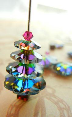 I made these the beads are hard 2 fine. Swarovski Vitrail Medium Christmas Tree Earrings - Stunning!
