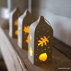 Fall Paper Cut Lantern is part of Fall Paper crafts - Make your own pretty winter paper cut lantern in metallic and vellum papers Pattern and design by Lia Griffith and her team of designing Elves Thanksgiving Crafts, Thanksgiving Decorations, Fall Crafts, Christmas Crafts, Diy Crafts, Holiday Decorations, Christmas Tree, Leaf Cutout, Paper Feathers