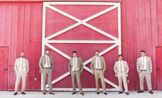 tan suits with pink ties for the men // Photo by Chris Ellis Photography // www.stylemybridal.com