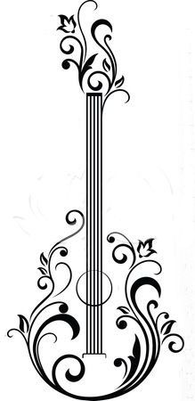 Clipart Black And White Floral Guitar 1 - Royalty Free Vector Illustration by Seamartini Graphics potential quilling pattern Zentangle, Stencils, Paper Art, Paper Crafts, Diy Crafts, Free Vector Illustration, Clipart Black And White, Black White, Quilling Patterns
