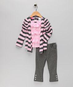Pastel Pink Ruffle Layered Top & Pants - Toddler & Girls