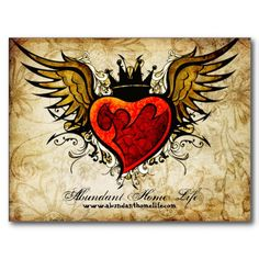 Vintage Flowers & Winged Heart Tattoo Postcard