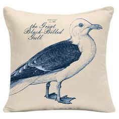 Add beach-chic style to your lanai or deck with this lovely pillow, featuring a blue seagull.   Product: PillowConst...