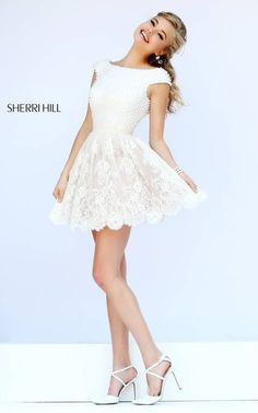 Ivory Sherri Hill 32257 Sleeved Lace Cocktail Dress