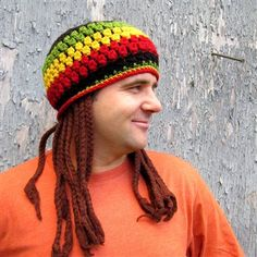 "Jamaican Hat with Fake Dreadlocks Crochet Pattern - Crochet Me...another fun hat for that ""friend"" without much hair:)"