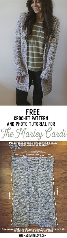 Free Crochet Pattern for the Marley Cardi – A Long & Chunky Cardigan Sweater The Marley Cardi – Langer & Grobstrickpullover – Kostenlose Häkelanleitung bei Megmade with Love Pull Crochet, Mode Crochet, Crochet Gratis, Thread Crochet, Crochet Cardigan Pattern, Crochet Jacket, Crochet Shawl, Knit Crochet, Crochet Sweaters