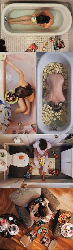 Lee Price is a painter who created those super photorealistic self-portraits that touch a very fragile topic - woman's relationship with food. As Tshepo ingeniously points out: 'women are taught to be givers, to nurture others at the expense of their own needs and food for some reason is one way we women have chosen to give back to ourselves - to attempt to nurture ourselves.'