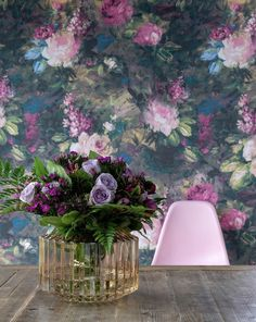 Ava Marika Electric Floral Wallpaper by Woodchip & Magnolia Floral Print Wallpaper, Bold Wallpaper, Interior Wallpaper, Unique Wallpaper, Wallpaper Samples, Wallpaper Roll, Floral Prints, Happy Flowers, Pink Flowers
