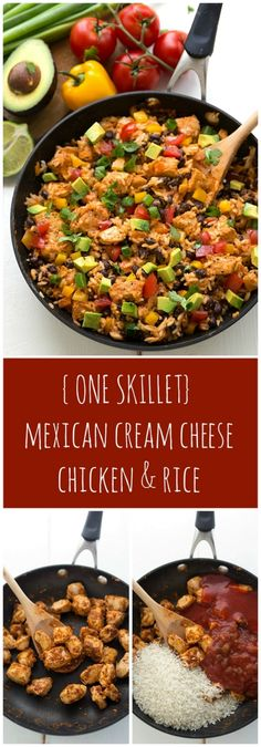Super simple ONE SKILLET Mexican Cream Cheese Chicken & Rice: