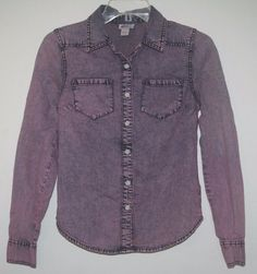 Mossimo Purple Denim Chambray Button Down Shirt XS Long Sleeve Extra Small. Women's Fall Fashion