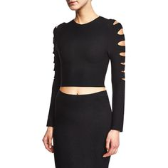 Cushnie et Ochs Slashed Long-Sleeve Crop Top ($550) ❤ liked on Polyvore featuring tops, black, form fitting tops, black top, cushnie et ochs, long sleeve crop top and long sleeve pullover