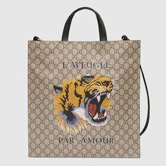 Tiger print soft GG Supreme tote - Gucci Men's Totes 450950K581T8666
