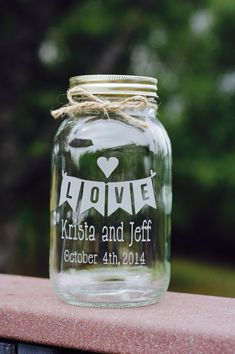 Love Banner Quart Mason Jar. Perfect Sand Ceremony Jar!