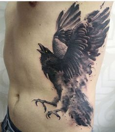 Victor Octaviano watercolor Raven tattoo