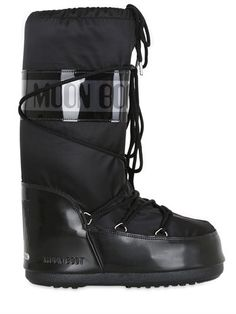 MOON BOOT - MB GLANCE SHINY NYLON BOOTS - BLACK