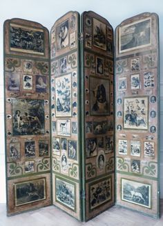 Side One, Antique Decoupage Screen with Dogs by MaisonDogLondon on Etsy