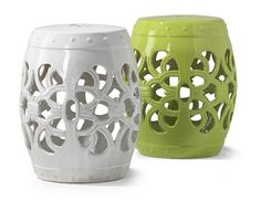 These ceramic garden stools are an easy but stylish addition to any yard. I'm thinking living room accent Ceramic Garden Stools, Ceramic Stool, Patio Plans, Deck Decorating, Garden Seating, Outdoor Living, Outdoor Decor, Outdoor Projects, Dorm Decorations