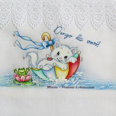 Fralda Passeio - 70 x 70 cm - Fralda Cremer Pinte & Borde / Pintura à mão. * Gatinho Sapeca *