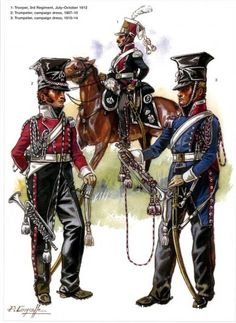 Trumpeters: 2nd Regiment (Red Lancers), left, and right: 1st Regiment (Polish Lancers), by Patrice Courcelle.
