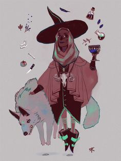 emoxic:  Witchsona week!  i'd be a witch with big hats, busy mixing potions…