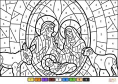 Christmas Nativity Scene Color By Number Super Coloring Nativity Coloring Pages Christmas Nativity Scene Nativity Coloring