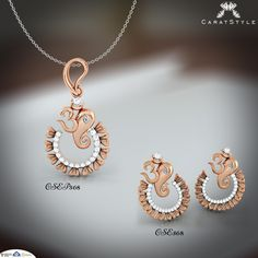 Send Loads of Love and Good Wishes with Ganesha Jewellery.   #pendant #earring #diamond #diamondpendant #goldpendant #ganeshapendant #ganeshaearring #earringpendantset #goldearring #diamondearring #earringforgirls #pendantearringset