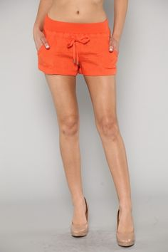 Tangerine Linen Summer Shorts. Available at LeChicFemme.com