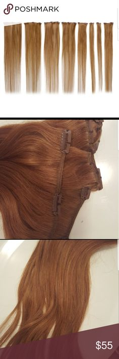 """100% 22"""" Remy Human Hair Extensions Light Brown New never used 100% real Remy human hair extensions. Can be cut, dyed, bleached, curled, straightened, etc. Real hair!!! Eight clip in's in total Light Brown Hair  (last one) Remy Hair Accessories"""