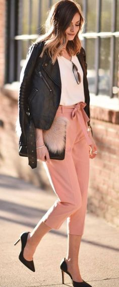 Fashionable Outfit Jacket Plus White Top Plus Heels Plus Pink Pants