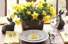 porch table place setting for Easter