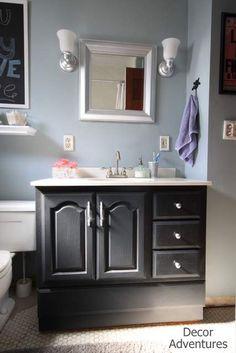 DIY Chalk-Painted Bathroom Vanity Makeover   The Rustic Boxwood blog    annie sloan chalk paint, tutorial, renovation, ascp   Pinterest   Paint  bathroom ...