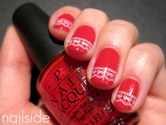 Christmas nails with lace