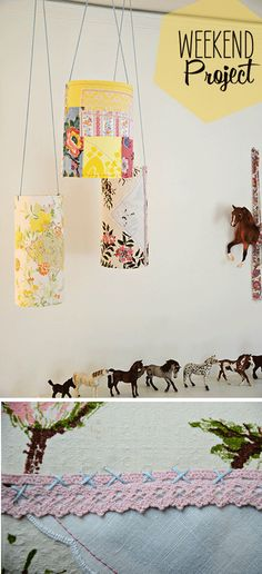 Pretty Patchy Paper Lanterns using odds and ends of fabric and lace wrapped around pieces of standard card stock.