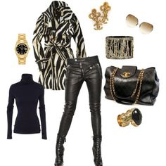 Love this look for fall and winter! Zebra coat ties it all together.