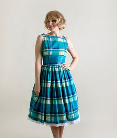 Vintage 1950s Dress Plaid Dress with Button Shoulders by zwzzy