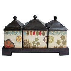 Add artful appeal to your entryway console table or living room etagere with this set of 3 floral canisters, showcasing a complementing tray. Product: 3 Canisters and 1 trayConstruction Material: MetalColor: Multi Dimensions: H x W x D (overall) Metal Containers, Metal Trays, Spice Containers, Kitchen Items, Kitchen Decor, Kitchen Stuff, Kitchen Canisters, Kitchen Gadgets, Vintage Canisters