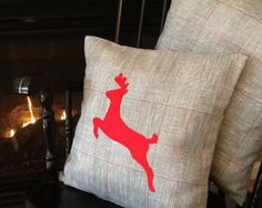 Christmas pillow. Country Cottage pillow by sterlingstitchery