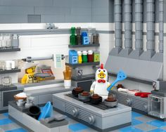 LEGO Diner with chicken man minifigure